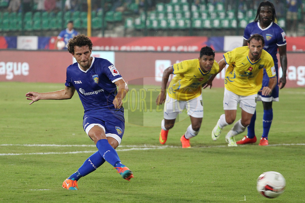 Elano Blumer of Chennaiyin FC takes the penalty to score for Chennai during match 9 of the Hero Indian Super League between Chennaiyin FC and Kerala Blasters FC held at the Jawaharlal Nehru Stadium, Chennai, India on the 21st October 2014.<br /> <br /> Photo by:  Ron Gaunt/ ISL/ SPORTZPICS
