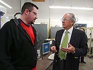 Advanced Manufacturing student Ken Caldwell of Cedar Rapids (from left) talks with Senator Tom Harkin (D-IA) as he takes a tour of Jones Hall at Kirkwood Community College in Cedar Rapids on Monday, March 5, 2012. Stephen Mally/Freelance)