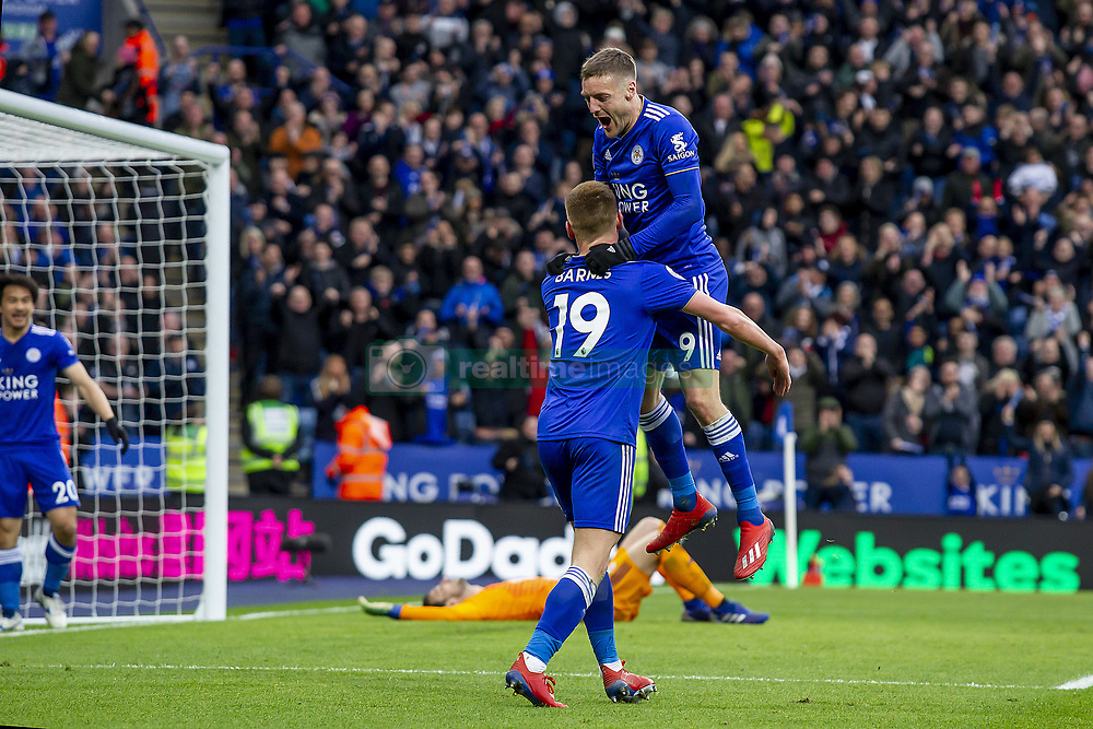 March 9, 2019 - Leicester, Leicestershire, United Kingdom - Jamie Vardy of Leicester City celebrates his second goal of the game with Harvey Barnes of Leicester City during the Premier League match between Leicester City and Fulham at the King Power Stadium, Leicester on Saturday 9th March 2019. (Credit Image: © Mi News/NurPhoto via ZUMA Press)