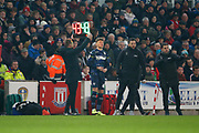 Leeds United midfielder Mateusz Klich (43) is substituted for Leeds United midfielder Jordan Stevens (48)   during the EFL Sky Bet Championship match between Stoke City and Leeds United at the Bet365 Stadium, Stoke-on-Trent, England on 19 January 2019.