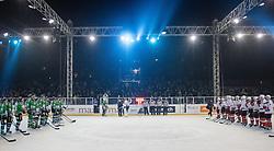 Players after ice hockey match between HDD Telemach Olimpija and HDD SIJ Acroni Jesenice at Winter Classic of HDD Telemach Olimpija called Pivovarna Union Ice Fest 2014, on December 18, 2014 on Republic Square, Ljubljana, Slovenia. (Photo By Matic Klansek Velej / Sportida.com)