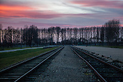 The railroad track at the Auschwitz Birkenau Nazi concentration camp. It is estimated that between 1.1 and 1.5 million Jews, Poles, Roma and others were killed in Auschwitz during the Holocaust in between 1940-1945.