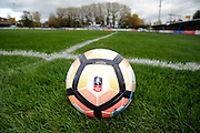 An FA Cup branded match ball on the pitch before the The FA Cup match between Taunton Town and Barrow at the Viridor Stadium, Taunton, United Kingdom on 6 November 2016. Photo by Graham Hunt.