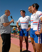 Hamilton, New Zealand, 2010  World Rowing Championships, Lake Karapiro Sunday  07/11/2010 GBR, Sir Steve REGRAVE [left], interviews Greg SEARLE [second from left], Mohamed SBIHI [second from right], and James CLARKE [right] [Mandatory Credit Karon Phillips/Intersport Images]
