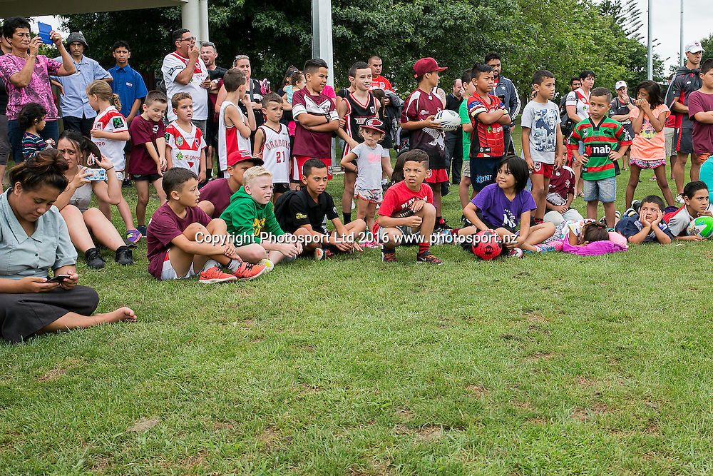 The crowd watching the entertainment.  St George Illawarra Dragons club visit to Papakura Sea Eagles, Prince Edward Park, Auckland. Friday 05 February 2016. Photo: David Joseph / www.photosport.co.nz