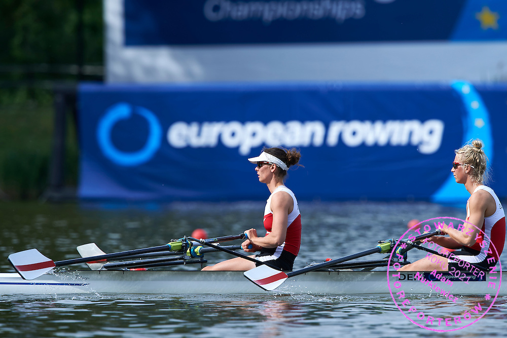 (stroke) Lisbet Jakobsen and (bow) Mette Petersen both of Denmark compete Women&rsquo;s Double Sculls (W2x) repechage during first day the 2015 European Rowing Championships on Malta Lake on May 29, 2015 in Poznan, Poland<br />