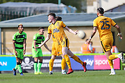 Cambridge United's Paul Lewis(22) scores a goal 1-1 and celebrates during the EFL Sky Bet League 2 match between Forest Green Rovers and Cambridge United at the New Lawn, Forest Green, United Kingdom on 22 April 2019.