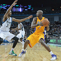 04 October 2010:  Minnesota Timberwolves guard Corey Brewer defends against Los Angeles Lakers Lamar Odom during the Minnesota Timberwolves 111-92 victory over the Los Angeles Lakers, during 2010 NBA Europe Live, at the O2 Arena in London, England.