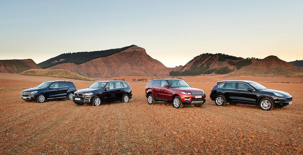 Porsche Cayenne, BMW X5, Range Rover y Mercedes ML