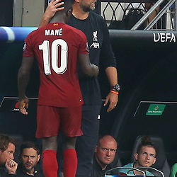 Sadio Mane and Coach Jurgen Klopp  of Liverpool during the UEFA SUPERCUP match between Liverpool and Chelsea at Vodafone Park in Istanbul , Turkey on August 14 , 2019. <br /> Photo : Seskimphoto / Icon Sport