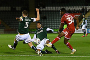 Bez Lubala (30) of Crawley Town shoots at goal during the EFL Sky Bet League 2 match between Plymouth Argyle and Crawley Town at Home Park, Plymouth, England on 28 January 2020.