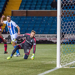 #12 Elliott Parish (Dundee) can only watch #25 Eamonn Brophy's (Kilmarnock) strike from distance open the scoring - Kilmarnock v Dundee - Ladbrokes Premiership - 13 February 2018 - © Russel Hutcheson | SportPix.org.uk