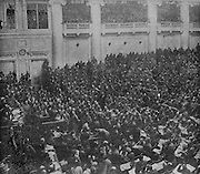 Soldier delegates forming an assembly of over 3,000 members, at the Duma assembly hall in the Palace of Tauride (seat of the Provisional Government after the February Revolution) in Petrograd, later St Petersburg, Russia, photograph published in L'Illustration no.3869, 28th April 1917. Picture by Manuel Cohen