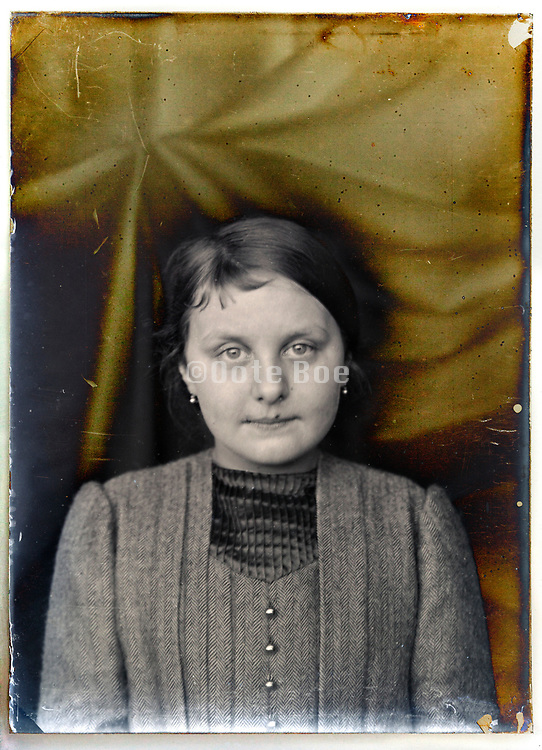 vintage deteriorating glass plate young adult woman portrait France