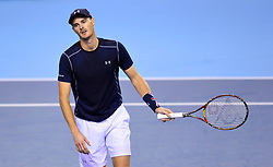 Great Britain's Jamie Murray reacts during day two of the Davis Cup match at Emirates Arena, Glasgow.