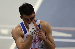 Great Britain's Guy Learmonth prior to the start of the men's 800m semi final during day two of the European Indoor Athletics Championships at the Emirates Arena, Glasgow.