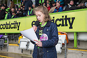 Ambassador reading out the ground rules during the EFL Sky Bet League 2 match between Forest Green Rovers and Coventry City at the New Lawn, Forest Green, United Kingdom on 3 February 2018. Picture by Shane Healey.