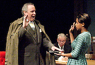 (from left) David Shough, Geoff Burkman and Jeri L. Williams during a dress rehearsal of A Case of Libel at the Dayton Theatre Guild in Dayton, Wednesday, May 19, 2010.