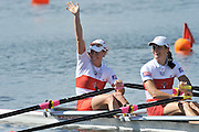 Hamilton, NEW ZEALAND. CAN LW2X, Bow. Lindsey JENNERICH and Tracy CAMERON win and celebrate winning the gold medal in the women's lightweight double scull, at the 2010 World Rowing Championships - Lake Karapiro. Friday 05.11.2010.  [Mandatory Credit Peter Spurrier:Intersport Images].