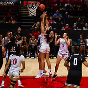 09 November 2018: San Diego State Aztecs forward Baylee Vanderdoes (34) battles for a rebound late in the third quarter. The Aztecs opened up it's regular season schedule with a 58-57 win over Hawaii Friday at Viejas Arena.
