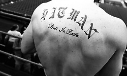 A general view of Ricky Hatton's tattoo during a media workout ahead of the Light Welterweight title fight that will take place at the MGM Grand on May 2nd 2009.