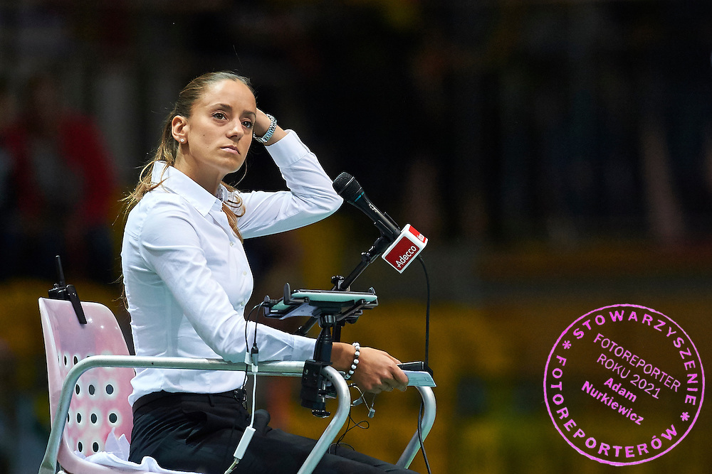 Chair Umpire Marijana Veljovic of Serbia during Davis Cup Tie World Group Play-off Poland v Slovakia at Gdynia Arena Hall in Gdynia, Poland.<br /> <br /> Poland, Gdynia, September 20, 2015<br /> <br /> Picture also available in RAW (NEF) or TIFF format on special request.<br /> <br /> For editorial use only. Any commercial or promotional use requires permission.<br /> <br /> Adam Nurkiewicz declares that he has no rights to the image of people at the photographs of his authorship.<br /> <br /> Mandatory credit:<br /> Photo by &copy; Adam Nurkiewicz / Mediasport