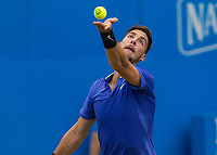 Tennis - 2017 Aegon Championships [Queen's Club Championship] - Day Four, Thursday <br /> <br /> Men's Singles: Round of 16 - Daniil MEDVEDEV (RUS) Vs Thanasi KOKKINAKIS (AUS)<br /> <br /> <br /> Thanasi Kokkinakis (AUS) serving on centre court at Queens Club<br /> <br /> COLORSPORT/DANIEL BEARHAM