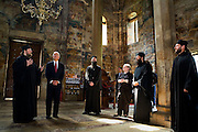 Vice President Joe Biden tours the Decani Monastery with Serbian Orthodox Monk Father Sava (left), in Decani, Kosovo, Thursday, May 21, 2009. (Official White House Photo by David Lienemann)