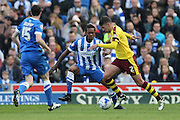 Burnley striker Andre Gray (7) during the Sky Bet Championship match between Brighton and Hove Albion and Burnley at the American Express Community Stadium, Brighton and Hove, England on 2 April 2016.
