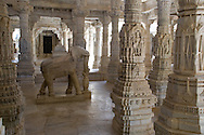 The intricately carved marble interior of the main Jain temple at Ranakpur, Rajasthan,<br /> India