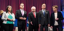 05.10.2015, Sofiensäle, Wien, AUT, ORF-Puls4 TV-Konfrontation, Elefantenrunde zur Wien-Wahl 2015, im Bild die Spitzenkandidaten v.l.n.r Maria Vassilakou (Grünen), Heinz-Christian Strache (FPÖ), Michael Häupl (SPÖ), Manfred Juraczka (SPÖ) und Beate Meinl-Reisinger (NEOS) // before Television confrontation beetwen Topcandidates for viennese state elcetion at Sofiensäle in Vienna, Austria on 2015/10/05, EXPA Pictures © 2015, PhotoCredit: EXPA/ Michael Gruber