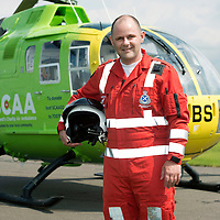 SCAA..Scotland's Charity Air Ambulance paramedic Bruce Rumgay<br /> The helicopter is a Bolkow 105 supplied by Bond Aviation Services.<br /> Picture by Graeme Hart.<br /> Copyright Perthshire Picture Agency<br /> Tel: 01738 623350  Mobile: 07990 594431