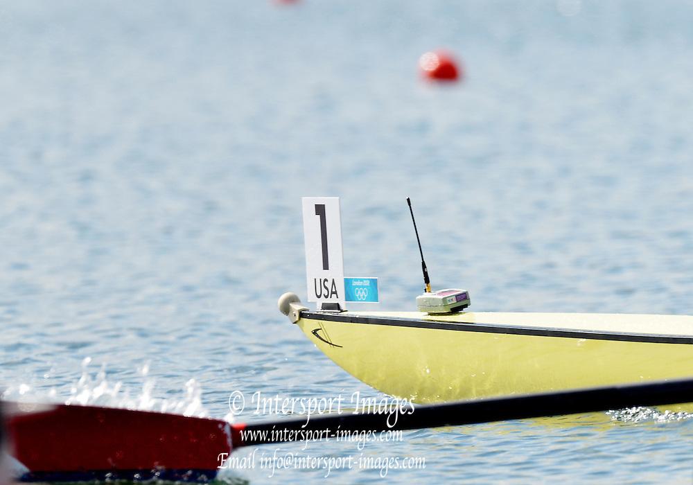 Eton Dorney, Windsor, Great Britain,..2012 London Olympic Regatta, Dorney Lake. Eton Rowing Centre, Berkshire[ Rowing]...Start, USA LM4- . 09:40:01  Sunday  09:40:01   [Mandatory Credit: Peter Spurrier/Intersport Images].