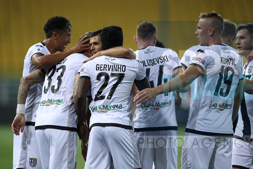 Parma Calcio's Ivorian striker Gervinho celebrates with team mates after scoring to give the side a 1-0 lead during the Serie A match at Stadio Ennio Tardini, Parma. Picture date: 28th June 2020. Picture credit should read: Jonathan Moscrop/Sportimage