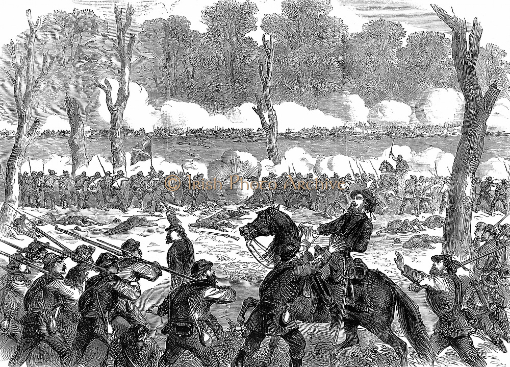 American Civil War: Confederate (southern) General Hood wounded at the battle of Chicamauga, 1863. Wood engraving published London, September 1863.