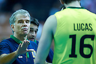 Brazil's trainer coach Bernardo Rezende (left) speaks to Lucas Saatkamp while volleyball match between Brazil and Russia during the 2014 FIVB Volleyball World Championships at Spodek Hall in Katowice on September 14, 2014.<br /> <br /> Poland, Katowice, September 14, 2014<br /> <br /> For editorial use only. Any commercial or promotional use requires permission.<br /> <br /> Mandatory credit:<br /> Photo by © Adam Nurkiewicz / Mediasport