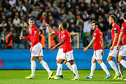 Goal England midfielder Ross Barkley scores a goal and celebrates 0-2 during the UEFA European 2020 Qualifier match between Bulgaria and England at Stadion Vasil Levski, Sofia, Bulgaria on 14 October 2019.