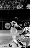 """Willie McCovey takes a turn at the plate during  """"Old Timers' Day"""" at Candlestick Park in San Francisco."""