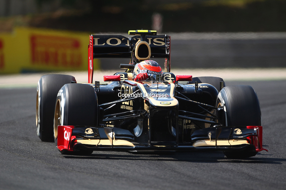 &copy; Photo4 / LaPresse<br /> 28/7/2012 Budapest<br /> Sport <br /> Hungarian Grand Prix, Hungaroring 26-29 July 2012<br /> In the pic: Romain Grosjean (SUI) Lotus F1 Team E20