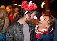 Graham Beck and Ashley Colgate crack up outside the Mangy Moose on Wednesday night at the annual Sweethogs and Swinehearts Ski Ball. Sponsored by Jackson Hole Mountain Resort ski patrol the party featured a performance by the pop-bluegrass jam band The Infamous String Dusters.