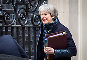 UNITED KINGDOM, London: 10 January 2018 British Prime Minister Theresa May leaves 10 Downing Street this morning as she heads to parliament for Prime Minister's Questions. Rick Findler  / Story Picture Agency