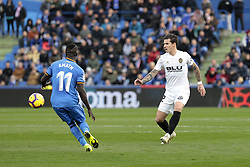 November 10, 2018 - Getafe, Madrid, Spain - Getafe CF's Amath Ndiaye and Valencia CF's Santi Mina during La Liga match between Getafe CF and Valencia CF at Coliseum Alfonso Perez in Getafe, Spain. November 10, 2018. (Credit Image: © A. Ware/NurPhoto via ZUMA Press)
