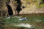 Rafters, floating, Middle Fork of Flathead River, southern border of Glacier National Park, Montana