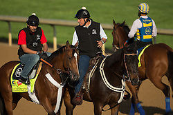 Derby 139 hopeful Goldencents with Jonny Garcia up,  left,  O'Neill assistant trainer Leandro Mora, center, enter the track for training, Wednesday, May 01, 2013 at Churchill Downs in Louisville. Photo by Jonathan Palmer