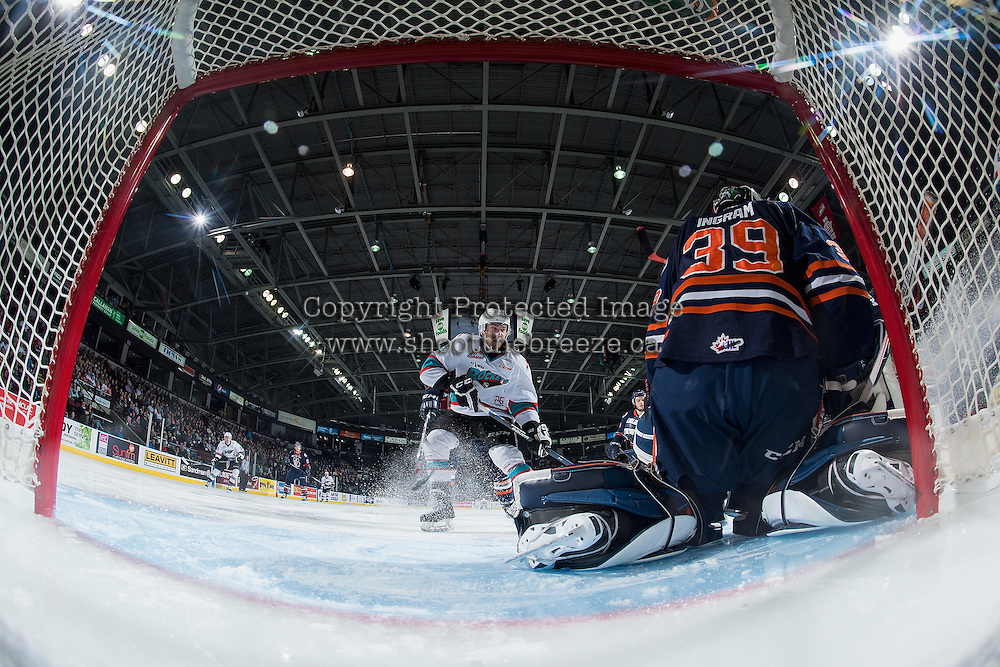 KELOWNA, CANADA - APRIL 1: Rourke Chartier #14 of Kelowna Rockets takes a shot on Connor Ingram #39 of Kamloops Blazers on April 1, 2016 at Prospera Place in Kelowna, British Columbia, Canada.  (Photo by Marissa Baecker/Shoot the Breeze)  *** Local Caption *** Rourke Chartier; Connor Ingram;