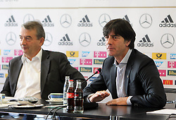 18.10.2013, DFB Zentrale, Frankfurt, GER, DFB Pressekonferenz, im Bild Joachim Jogi Löw - DFB Präsident Wolfgang Niersbach // during the DFB press conference to extend the contract of national coach Joachim Loew in the DFB headquarters in Frankfurt on 2013/10/18. EXPA Pictures © 2013, PhotoCredit: EXPA/ Eibner-Pressefoto/ RRZ<br /> <br /> *****ATTENTION - OUT of GER*****