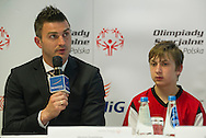 (L) Michal Zewlakow & (R) SO athlete while Special Olympics's press conference before European Football Week at Novotel Hotel in Warsaw on May 15, 2013..The mission of Special Olympics is to provide sports training and athletic competition for children and adults with intellectual disabilities...Poland, Warsaw, May 15, 2013...Picture also available in RAW (NEF) or TIFF format on special request...For editorial use only. Any commercial or promotional use requires permission...Photo by © Adam Nurkiewicz / Mediasport