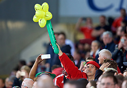 CARDIFF, WALES - Monday, October 9, 2017: A Wales supporter holds up an inflatable daffodil during the 2018 FIFA World Cup Qualifying Group D match between Wales and Republic of Ireland at the Cardiff City Stadium. (Pic by Paul Greenwood/Propaganda)