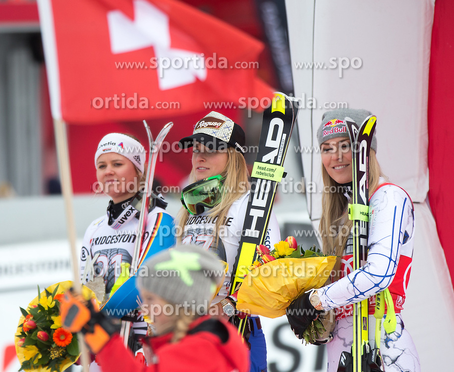 07.02.2016, Kandahar, Garmisch Partenkirchen, GER, FIS Weltcup Ski Alpin, Super G, Damen, Siegerehrung, im Bild v.l. Viktoria Rebensburg (GER, 2. Platz), Lara Gut (SUI, 1. Platz), Lindsey Vonn (USA, 3. Platz) // 2nd placed Viktoria Rebensburg of Germany ( L ), winner Lara Gut of Switzerland ( C ), 3rd placed Lindsey Vonn of the USA ( R ) + at the Kandahar course in Garmisch Partenkirchen, Germany on 2016/02/07. EXPA Pictures © 2016, PhotoCredit: EXPA/ Johann Groder