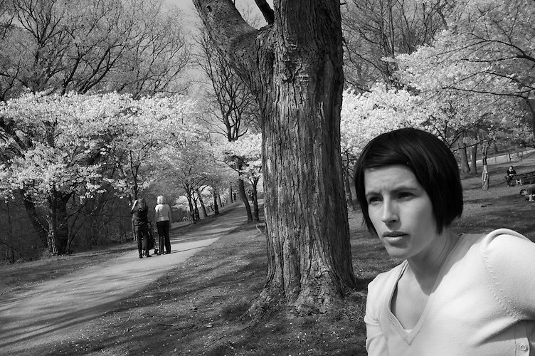 Portrait of Tavia in High Park during cherry blossoming.